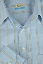 Auke Hombre Azul Cielo & Beige Algodón de Rayas Camisa Informal M