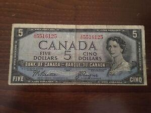 1954 $5 QE2 Devil's Face Beattie Coyne Scarce I/C  5516125