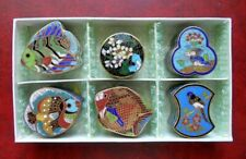 Nib 6 Cloisonne Pill Boxes - China 1990s - Small Gifts