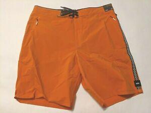 "Vans New Voyage 18.5"" Swim Boardshorts Gold Flame Swimwear Men's Trunks Size 32"