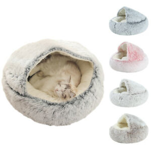 Soft Warm Pet Cat Cave Bed Long Plush Puppy Cat Kennel House Round Sleeping Nest