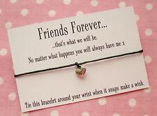 Friends Forever Heart Charm Wish Friendship Bracelet Gift & Envelope