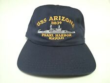 USS ARIZONA BB-39 Navy Ship Pearl Harbor Hawaii Hat Military Cap Made in U.S.A