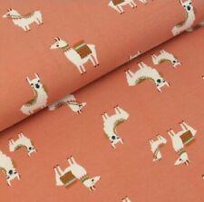 Stretch Jersey Knit Fabric - Drama Llama - Old Pink -95%Cotton 5%Lycra HalfMetre