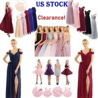 US Sexy Women's Long Chiffon Lace Evening Party Ball Gown Prom Bridesmaid Dress