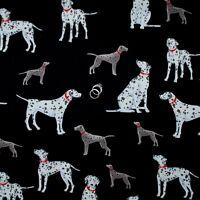 BonEful Fabric FQ Cotton B&W Black White Lg Puppy Dog Fire*Man Dot Dalmatian Dot