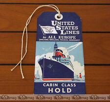 Gepäckanhänger SCHIFF DAMPFER SS UNITED STATES LINE #3