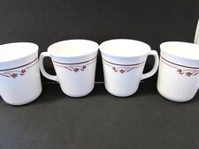 4 PYREX CORELLE CORNING WARE MELODY COFFEE MUGS CUPS BROWN FLORALS