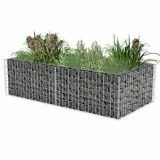 vidaXL Gabion Planter Galvanised Steel Mesh Stone Wall Outdoor Pot 50/100cm