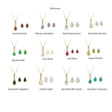 9ct gold birthstone earring, pendant & chain set. 12 options available. Gift box