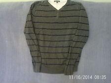 Mens Size M - Grey Striped Cotton Knit Jumper - TU