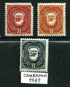 3 Postage Due Stamps - French Cameroon 1947 MLH
