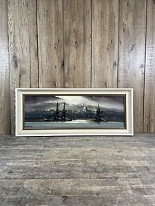 Signed & Framed Oil On Board Painting Of St Pauls London From The Thames.