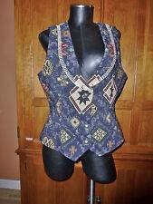 FRONTIER KILIM Vest JACKET Cotton blend South Western Blanket Rodeo Chic L