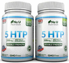 Nu U 5HTP 200mg Supplement 2 Bottles 360 tablets 100% Money Back Guarantee