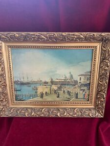 Canaletto - Quay at the Piazetta, oil on canvas copy, gold gilt frame.