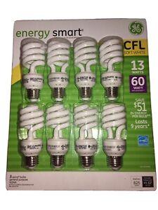 New GE 13-Watt Energy Smart Fluorescent Light Bulbs, 8 Pack, 60 Watt Replacement