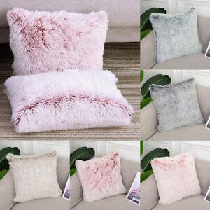 Soft Fluffy Plush Throw Pillow Case Cushion Covers Hidden Zipper Home Sofa Decor