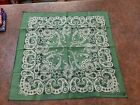 Vintage Beautiful Green Floral 100% Cotton Bandana Made In USA RN 16425 Western