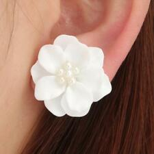 New Fashion Big White Flower Pearl Earrings For Women Jewelry US