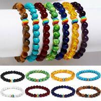 Women Men LGBT Gay Pride Peace Stone Rainbow Beaded Bracelet Couple Jewelry Gift