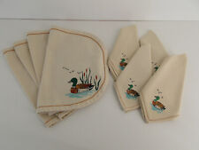 SET OF 4 EMBROIDERED CLOTH MALLARD DUCK FOWL TABLE PLACE MATS & NAPKINS