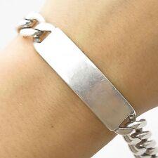 """Napier Vtg 925 Sterling Silver Think Wide Men's Cuban Link ID Bracelet 8 1/4"""""""