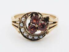 Antique Victorian Crescent Moon Ring Garnet Seed Pearl 12k Rose Gold Art Nouveau