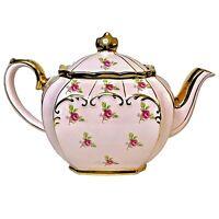 PINK SADLER CUBE DITSY ROSE CHINTZ AND GILDED English Teapot ca.1936 Cottagecore