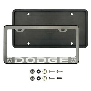 D0dg3 Laser Etched Black Chrome Stainless Steel License Frame Silicone Guard