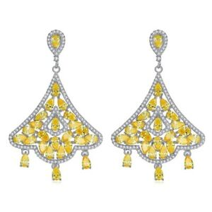 S19 Made Using Swarovski Crystals The Dainna Gorgeous Yellow Earrings $128