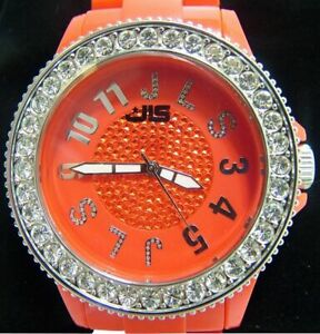 JLS UNISEX WATCH, DIAMANTE FACE  WITH PLASTIC BRACELET, RED, RRP: £34.99