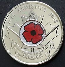 CANADA 2008 CANADIAN QUARTER 25 Cents ARMISTICE REMEMBER SOUVENIR COIN.