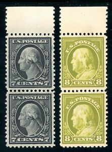 USAstamps Unused VF US 1917 Washington Franklin Pairs Scott 507 & 508 MNG