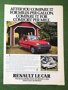 1980s magazine Ad car auto automobile LE CAR by Renault RED mancave garage