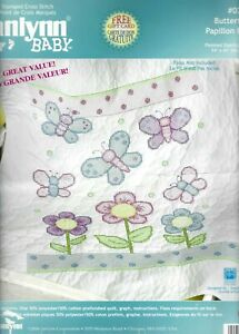 """Janlynn Baby BUTTERFLY QUILT Kit 34""""x43"""" STAMPED CROSS STITCH 023-0424 HTF 2006"""