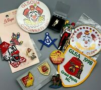 Lot of Collectible Fraternity Litho Pins Patches Buttons Freemason Shriner Clown