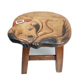 Sleeping Dog Design Hand Carved Acacia Hardwood Decorative Short Stool Puppy