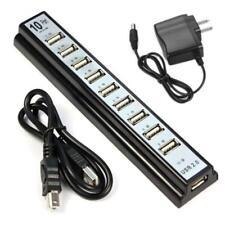 10 Port Hi-Speed LED USB 2.0 Hub + Power Adapter For PC Laptop Computer Black