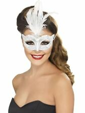 Smiffys Venetian Glitter Eyemask, Silver, with Feathers - Female - One Size