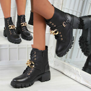 New Womens Gold Chain Chunky Sole Biker Ankle Boot Sizes 3-8