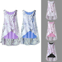 Plus Size Women Summer Casual Sleeveless Vest Blouse Floral Top Tank Loose Shirt