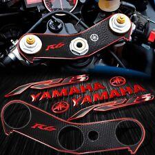 "Handle Bar Yoke Cover Black+Chrome Red 6""Logo+2-Tone Emblem Sticker 06-16 YZF R6"