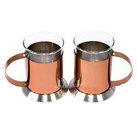 Set of 2 La Cafetiere Glass Copper Latte Glasses Cups Mugs Cappuccino Tea Coffee