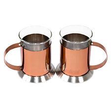 Set of 2 La Cafetiere Glass Copper Latte Glasses Cappuccino Tea Coffee Mugs Cups