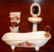 PORCELIAN ANTIQUE BATHROOM  floral design  x 4 pieces - Butlers,miniatures1:12