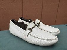 Roberto Cavalli Men's Fashion Shoe White Leather Driving Moccasins Loafers EU 41