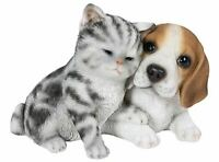 "6.6"" CAT AND BEAGLE DOG FIGURINE  STATUE LIFELIKE ANIMAL HOME AND GARDEN DECOR"