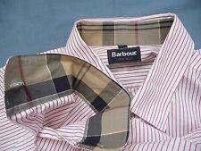 BARBOUR Shirt Large L White w/ Red Stripes DRESS TARTAN Long Sleeve Cotton