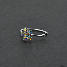 Thin Czech Crystal Blossom Flower Open Hoop Fake Nose Lips Ear Rings Steel Stud